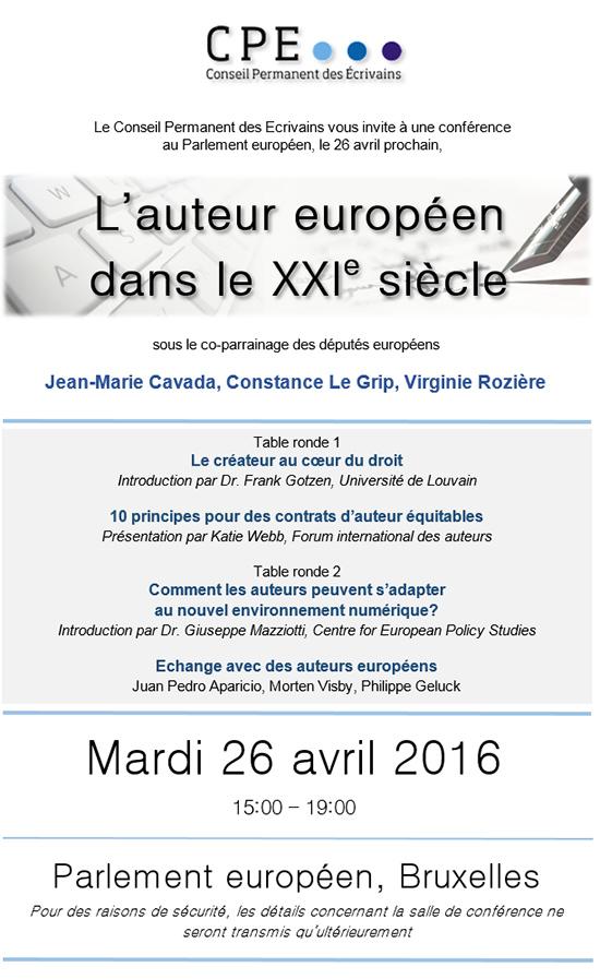Conférence au Parlement Européen